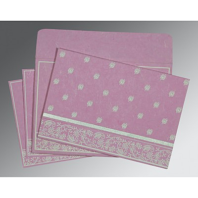 Pink Handmade Silk Screen Printed Wedding Card : W-8215J - 123WeddingCards