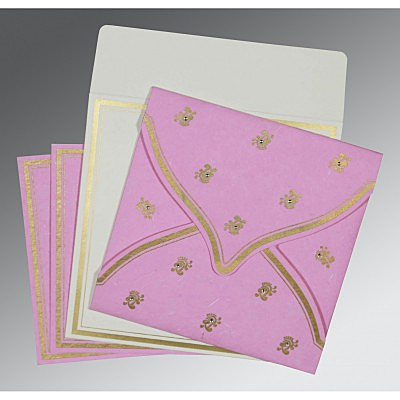 Pink Handmade Silk Unique Themed - Screen Printed Wedding Card : C-8203H - 123WeddingCards