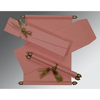 Pink Handmade Silk Wedding Card : SC-5001N - 123WeddingCards