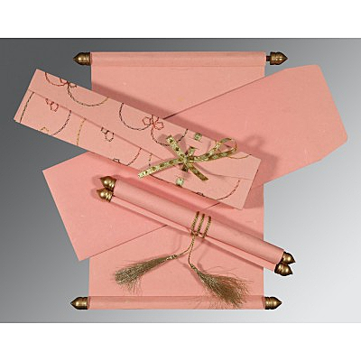 Pink Handmade Silk Wedding Card : SC-5002M - 123WeddingCards