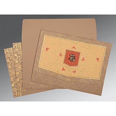 Pink Matte Embossed Wedding Card : C-1394 - 123WeddingCards