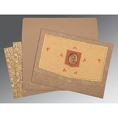 Pink Matte Embossed Wedding Card : I-1394 - 123WeddingCards
