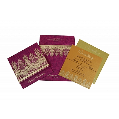 Pink Matte Floral Themed - Embossed Wedding Invitation : IN-1775 - 123WeddingCards