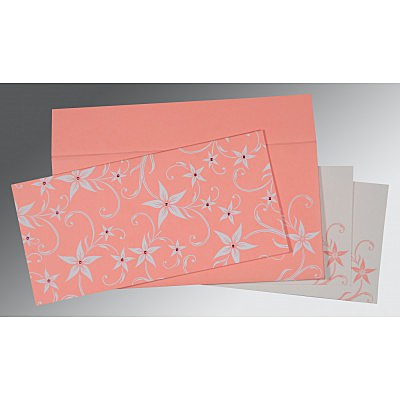 Pink Matte Floral Themed - Screen Printed Wedding Invitation : D-8225M - 123WeddingCards