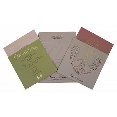 Pink Matte Laser Cut Wedding Invitation : W-1800 - 123WeddingCards