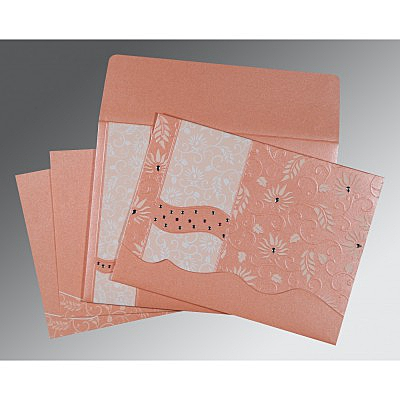 Pink Shimmery Floral Themed - Embossed Wedding Invitation : RU-8236A - 123WeddingCards