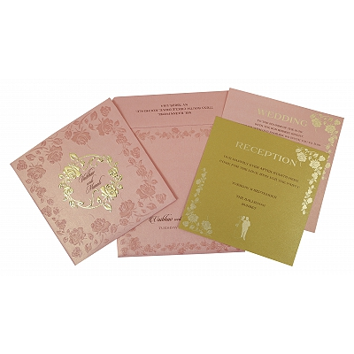 Pink Shimmery Floral Themed - Foil Stamped Wedding Invitation : W-1787 - 123WeddingCards