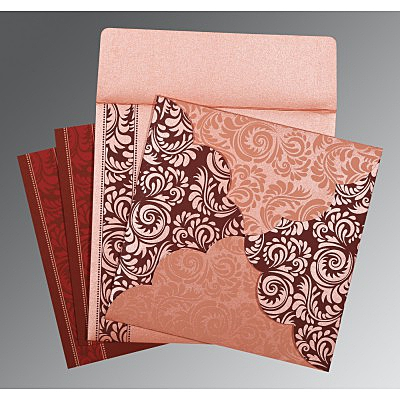 Pink Shimmery Floral Themed - Screen Printed Wedding Invitations : G-8235D - 123WeddingCards