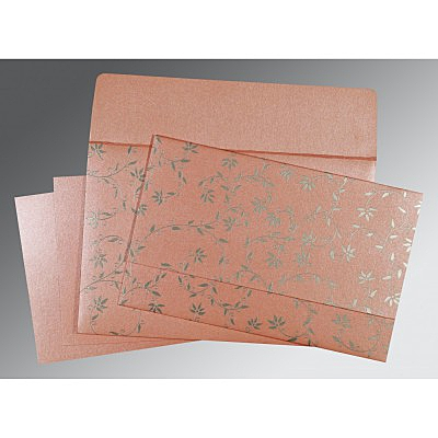 Pink Shimmery Floral Themed - Screen Printed Wedding Invitations : S-8226B - 123WeddingCards