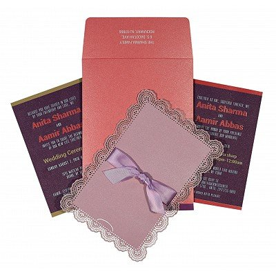 Pink Shimmery Laser Cut Wedding Invitation : S-1589 - 123WeddingCards