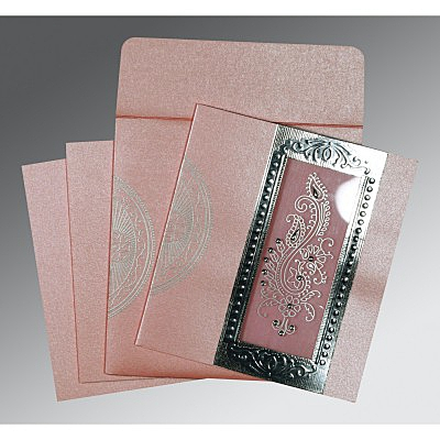Pink Shimmery Paisley Themed - Foil Stamped Wedding Invitations : C-8230I - 123WeddingCards