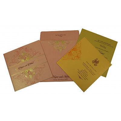 Pink Shimmery Paisley Themed - Foil Stamped Wedding Invitation : D-1819 - 123WeddingCards