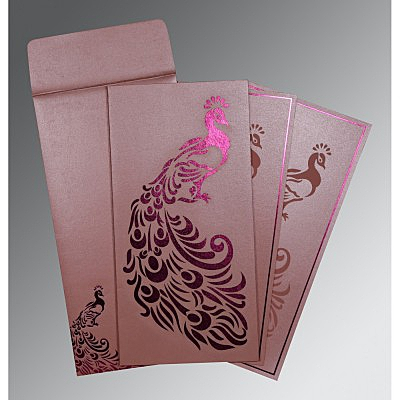 Pink Shimmery Peacock Themed - Laser Cut Wedding Invitation : W-8255B - 123WeddingCards