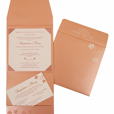 Pink Shimmery Screen Printed Wedding Invitation : D-803C - 123WeddingCards