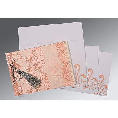 Pink Shimmery Screen Printed Wedding Card : W-8223E - 123WeddingCards