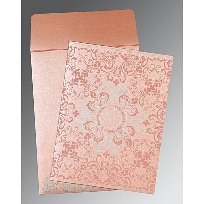 Pink Shimmery Screen Printed Wedding Card : W-8244A - 123WeddingCards