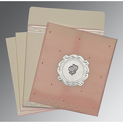 Pink Wooly Embossed Wedding Invitation : C-8202P - 123WeddingCards