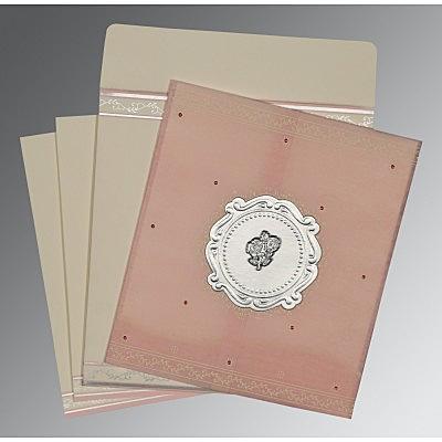 Pink Wooly Embossed Wedding Invitation : C-8202P - 123WeddingCards