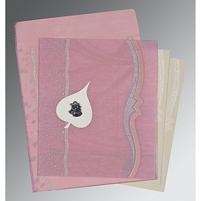Pink Wooly Embossed Wedding Card : C-8210B - 123WeddingCards