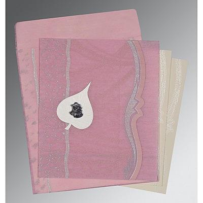 Pink Wooly Embossed Wedding Invitations : C-8210B - 123WeddingCards