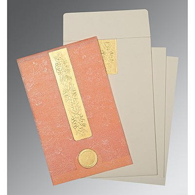 Pink Wooly Embossed Wedding Invitation : D-1221 - 123WeddingCards
