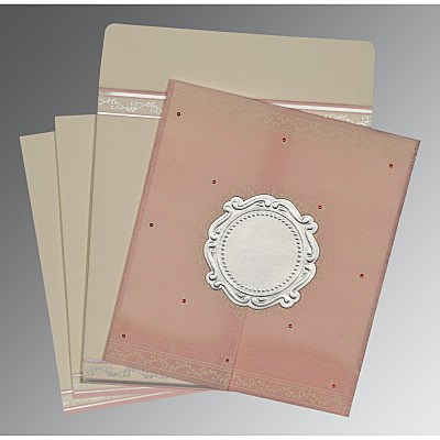 Pink Wooly Embossed Wedding Invitation : D-8202P - 123WeddingCards