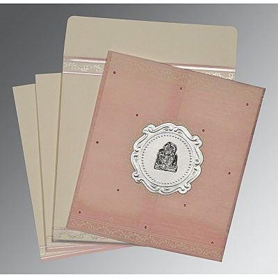 Pink Wooly Embossed Wedding Invitation : G-8202P - 123WeddingCards