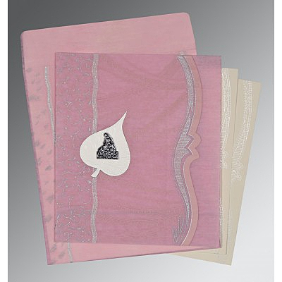 Pink Wooly Embossed Wedding Card : G-8210B - 123WeddingCards