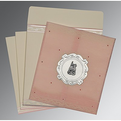 Pink Wooly Embossed Wedding Invitation : I-8202P - 123WeddingCards