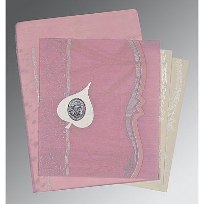 Pink Wooly Embossed Wedding Card : I-8210B - 123WeddingCards
