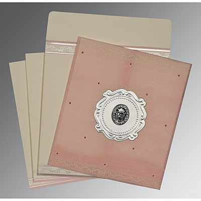 Pink Wooly Embossed Wedding Invitation : RU-8202P - 123WeddingCards