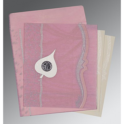 Pink Wooly Embossed Wedding Card : RU-8210B - 123WeddingCards