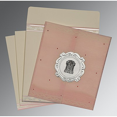 Pink Wooly Embossed Wedding Invitations : SO-8202P - 123WeddingCards