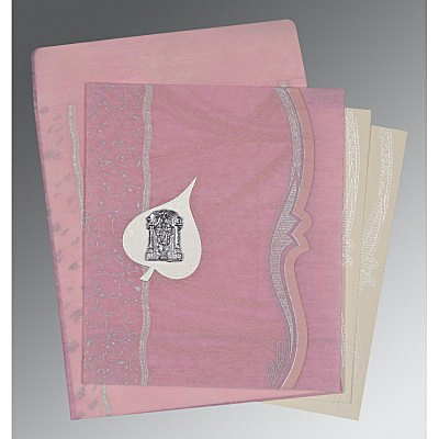Pink Wooly Embossed Wedding Card : SO-8210B - 123WeddingCards