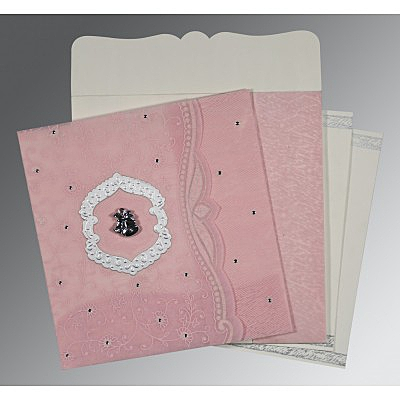 Pink Wooly Floral Themed - Embossed Wedding Card : C-8209H - 123WeddingCards