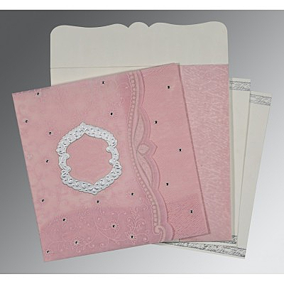 Pink Wooly Floral Themed - Embossed Wedding Card : D-8209H - 123WeddingCards