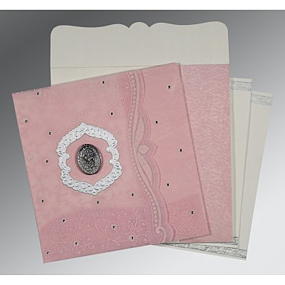 Pink Wooly Floral Themed - Embossed Wedding Card : I-8209H - 123WeddingCards