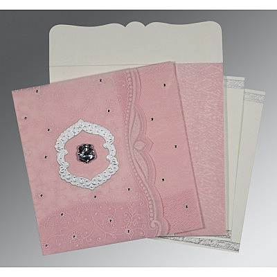 Pink Wooly Floral Themed - Embossed Wedding Card : IN-8209H - 123WeddingCards