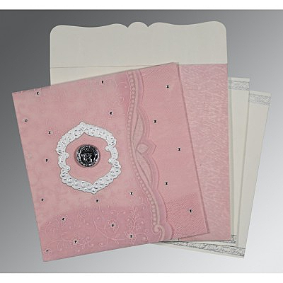 Pink Wooly Floral Themed - Embossed Wedding Card : S-8209H - 123WeddingCards