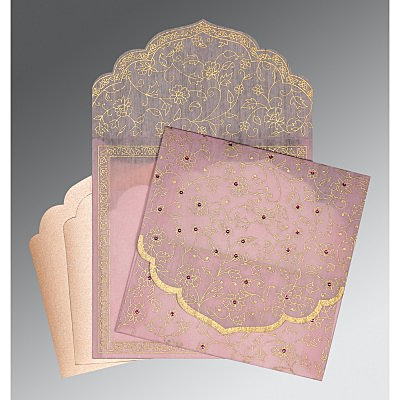 Pink Wooly Floral Themed - Screen Printed Wedding Invitation : G-8211D - 123WeddingCards