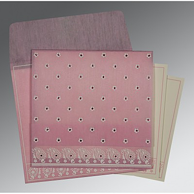 Pink Wooly Floral Themed - Screen Printed Wedding Card : RU-8218J - 123WeddingCards
