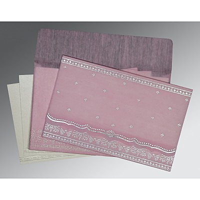 Pink Wooly Foil Stamped Wedding Invitation : D-8241E - 123WeddingCards
