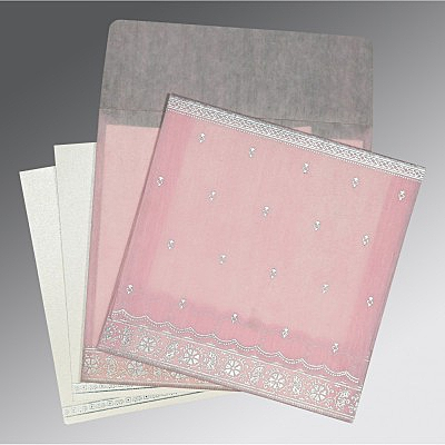 Pink Wooly Foil Stamped Wedding Card : W-8242N - 123WeddingCards