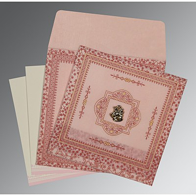Pink Wooly Glitter Wedding Card : C-8205J - 123WeddingCards