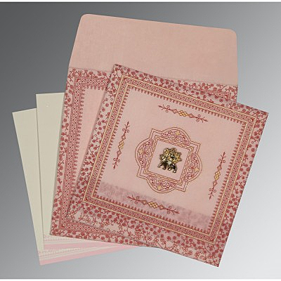 Pink Wooly Glitter Wedding Card : G-8205J - 123WeddingCards