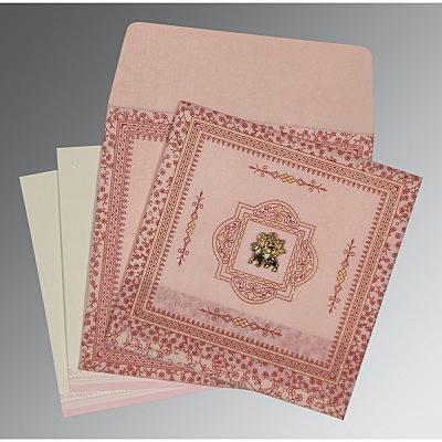 Pink Wooly Glitter Wedding Invitations : G-8205J - 123WeddingCards