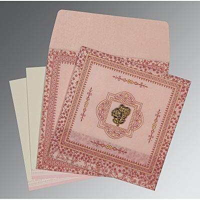 Pink Wooly Glitter Wedding Card : I-8205J - 123WeddingCards