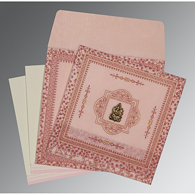 Pink Wooly Glitter Wedding Card : IN-8205J - 123WeddingCards