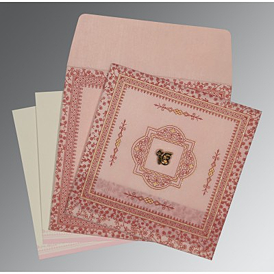 Pink Wooly Glitter Wedding Card : S-8205J - 123WeddingCards