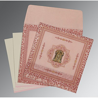 Pink Wooly Glitter Wedding Card : SO-8205J - 123WeddingCards